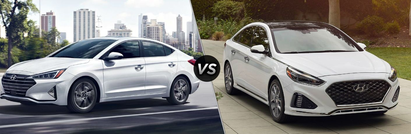 White 2019 Hyundai Elantra and white 2019 Hyundai Sonata side by side