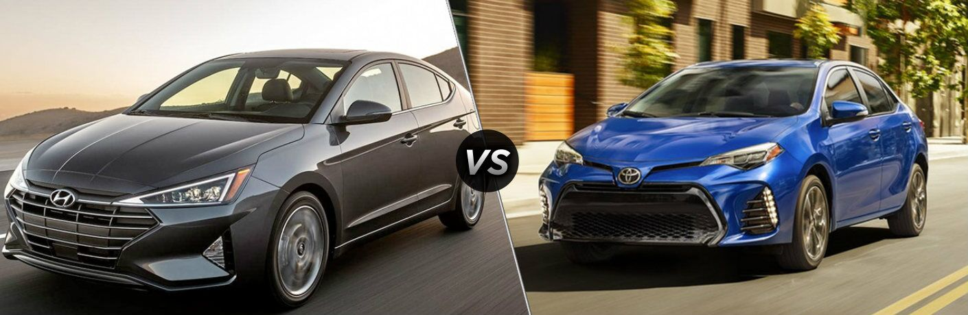Gray 2019 Hyundai Elantra and blue 2019 Toyota Corolla side by side