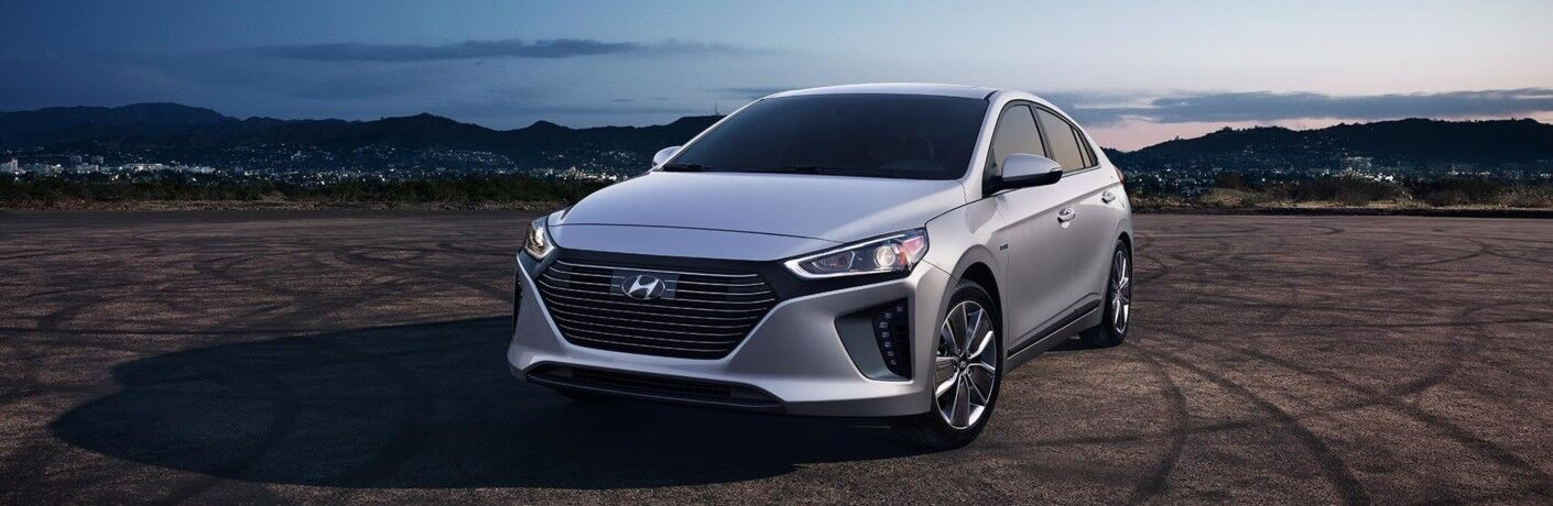 Silver 2019 Hyundai Ioniq in empty lot