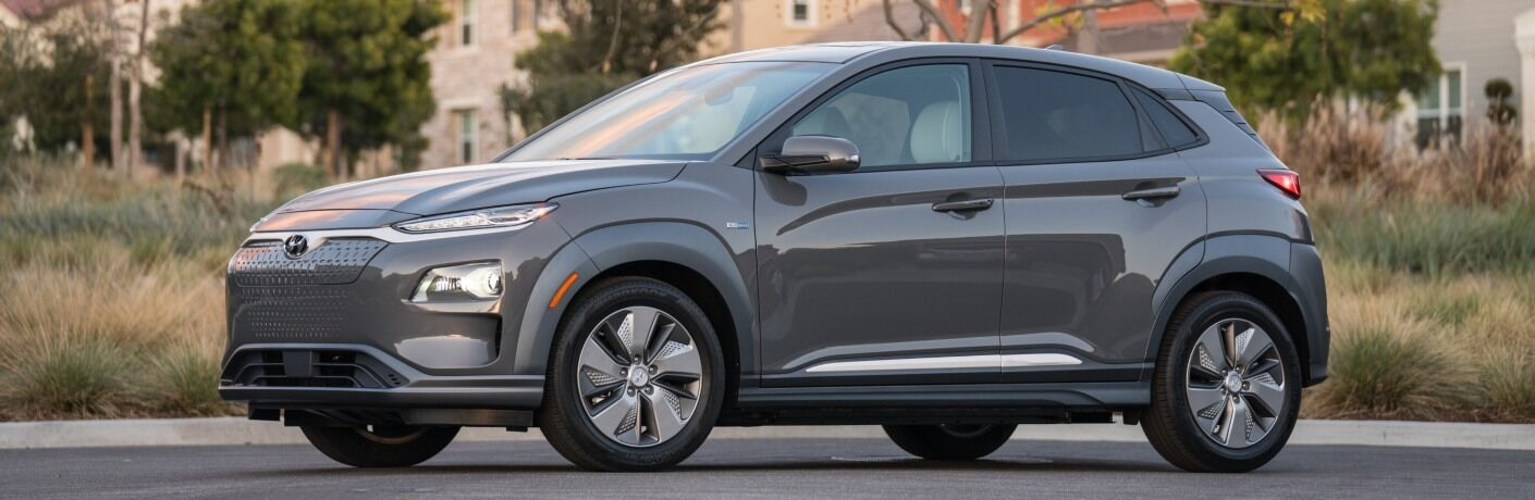 Side view of a gray 2019 Hyundai Kona Electric