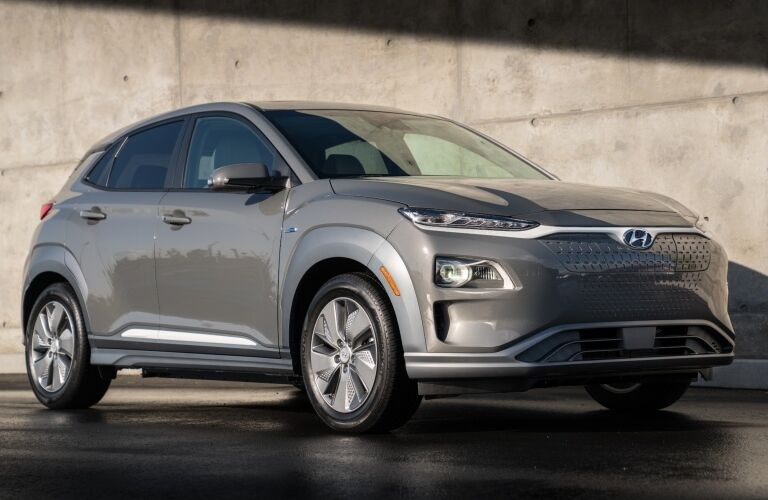 Front side view of a Hyundai Kona Electric