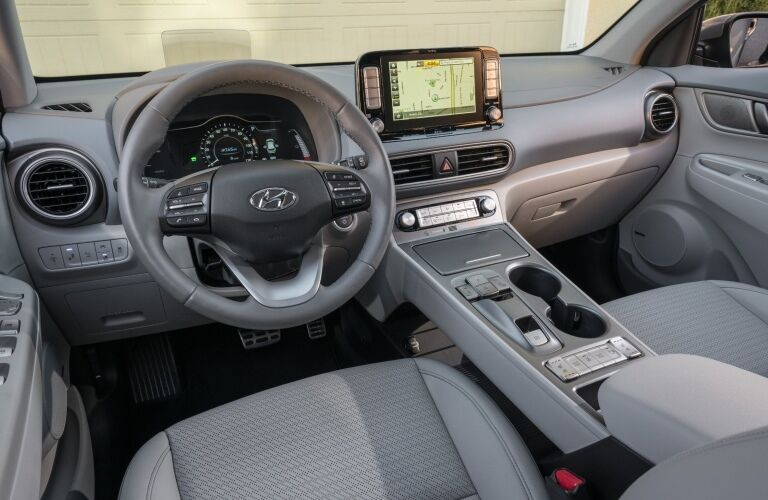 Cockpit view in the 2019 Hyundai Kona Electric