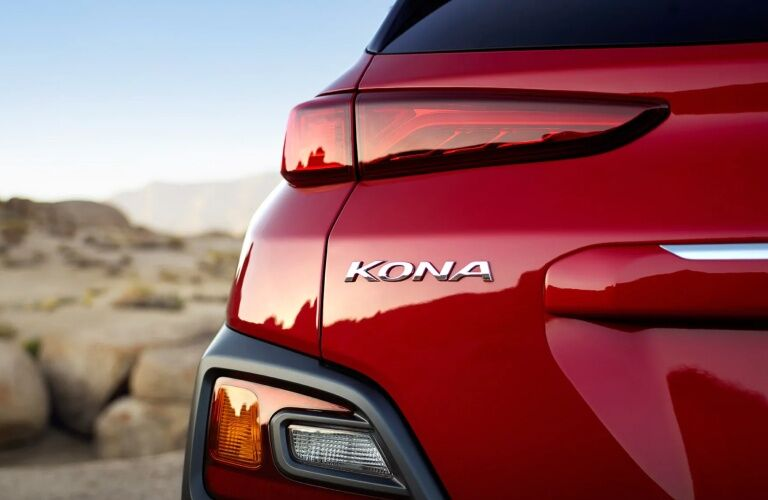 Kona badging on the back of a red 2019 Hyundai Kona