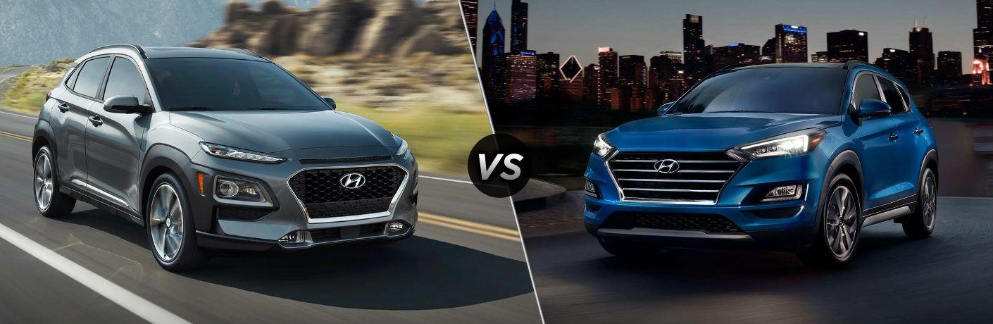 Gray 2019 Hyundai Kona and blue 2019 Hyundai Tucson side by side