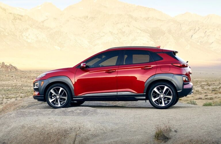 Side view of a red 2019 Hyundai Kona