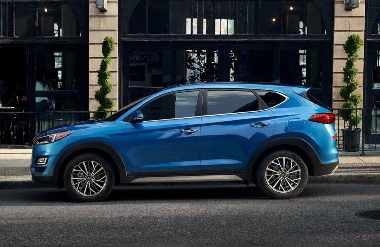 Side view of a blue 2019 Hyundai Tucson