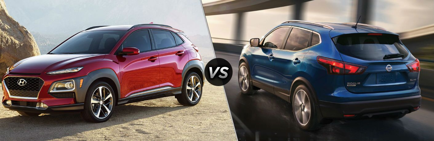 Red 2019 Hyundai Kona and blue 2019 Nissan Rogue Sport side by side
