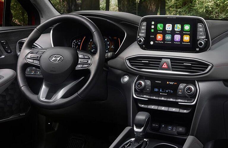 Cockpit view in a 2019 Hyundai Santa Fe