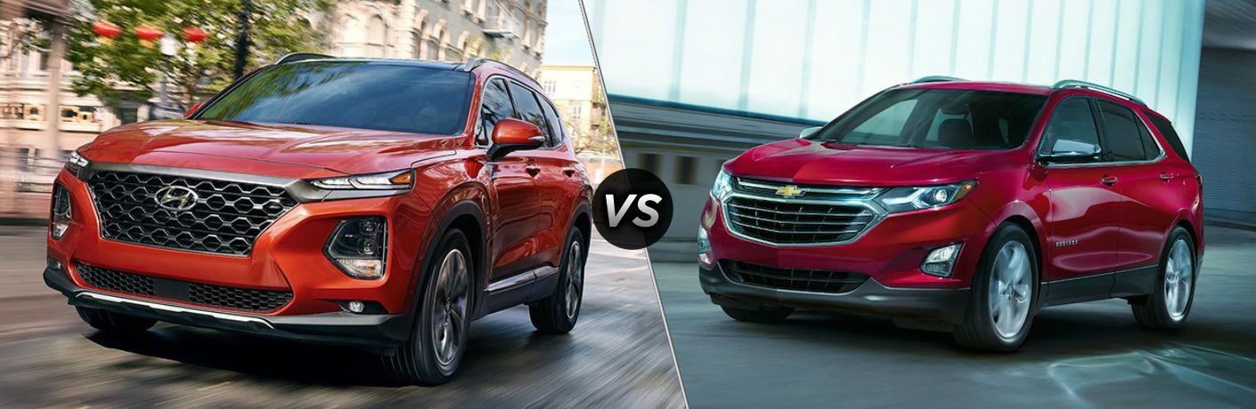 Red 2019 Hyundai Santa Fe and red 2019 Chevy Equinox side by side