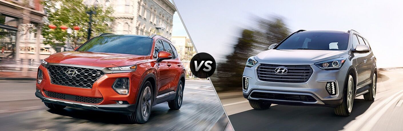 Red 2019 Hyundai Santa Fe and silver 2019 Hyundai Santa Fe XL side by side