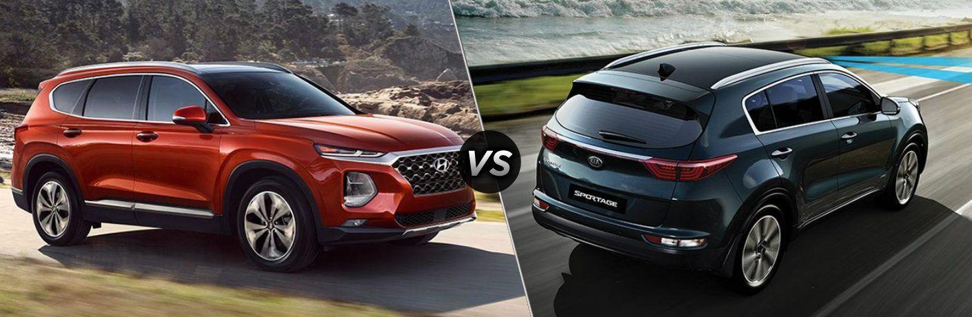 Red 2019 Hyundai Santa Fe and Blue 2019 Kia Sportage side by side