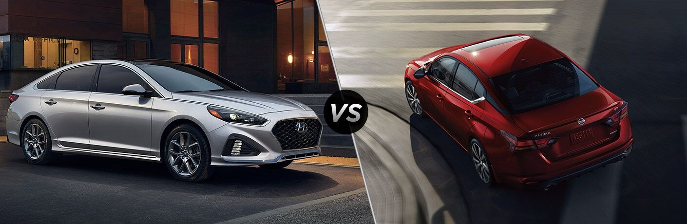 Silver 2019 Hyundai Sonata and red 2019 Nissan Altima side by side