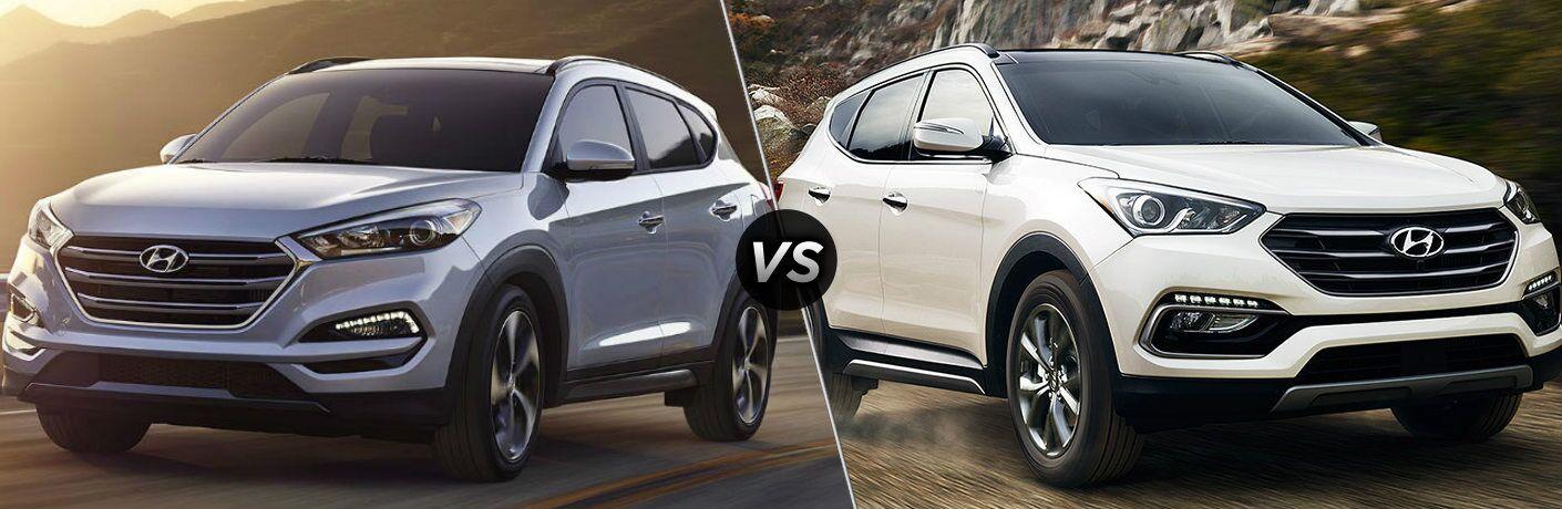 Silver 2019 Hyundai Tucson and White 2019 Hyundai Santa Fe side by side