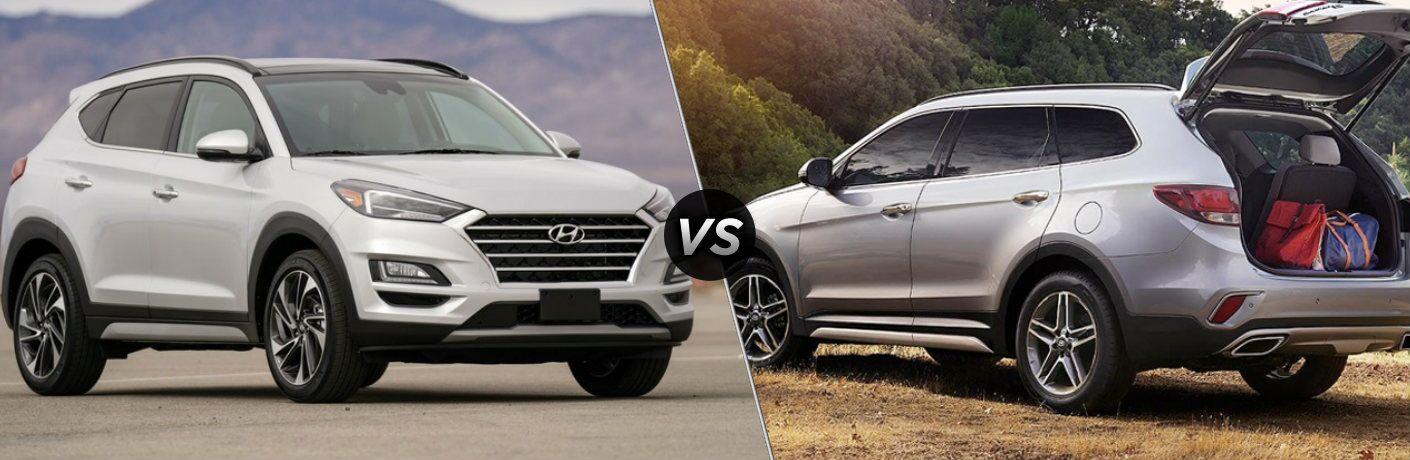 White 2019 Hyundai Tucson and silver 2019 Hyundai Santa Fe XL side by side