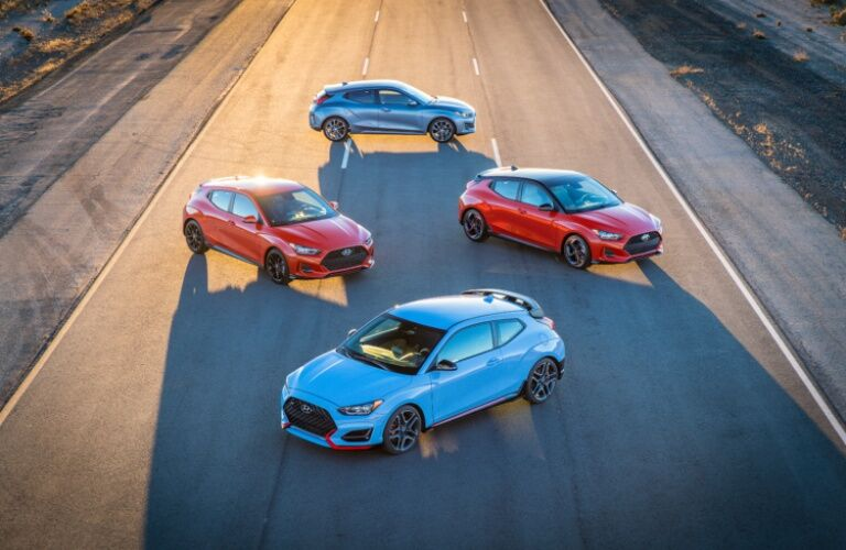 Overhead view of four 2019 Hyundai Veloster models