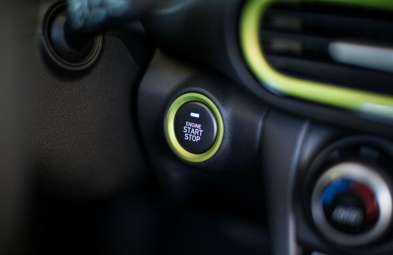 Closeup of start button in 2020 Hyundai Kona