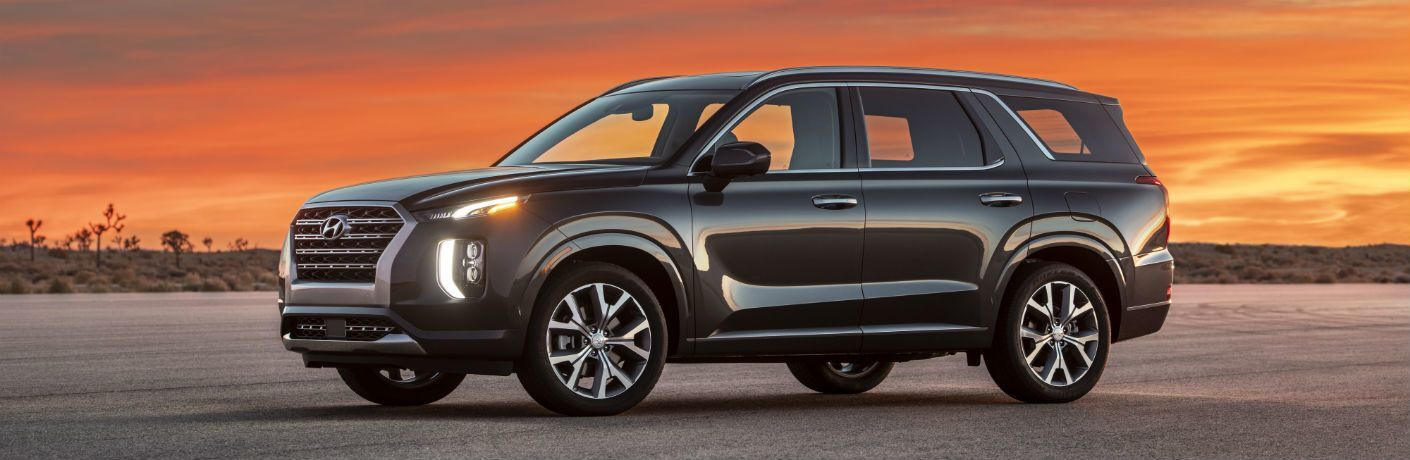 Profile view of 2020 Hyundai Palisade against orange sky
