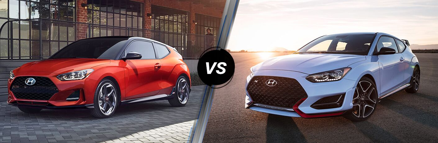 Front driver angle of an orange 2020 Hyundai Veloster on left VS front driver angle of a blue 2020 Hyundai Veloster N on right