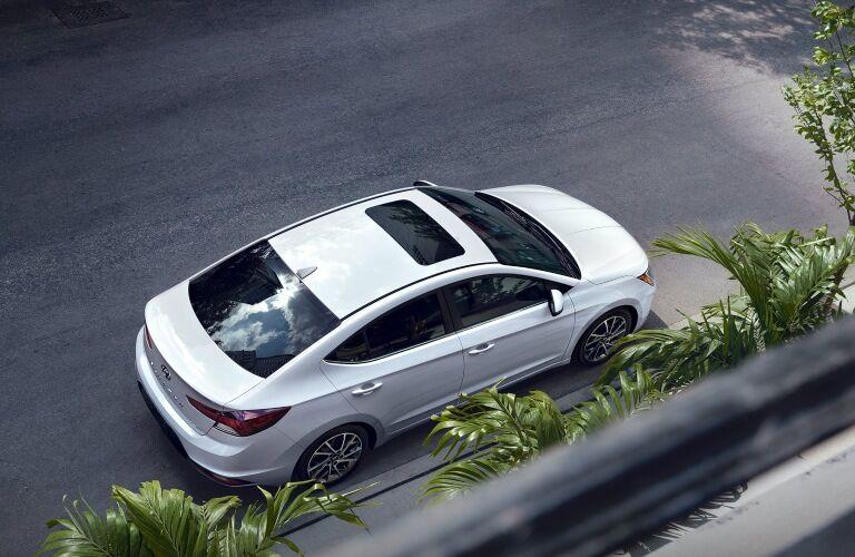 Overhead view of a white 2020 Hyundai Elantra