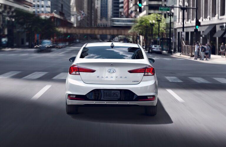 Rear view of a white 2020 Hyundai Elantra