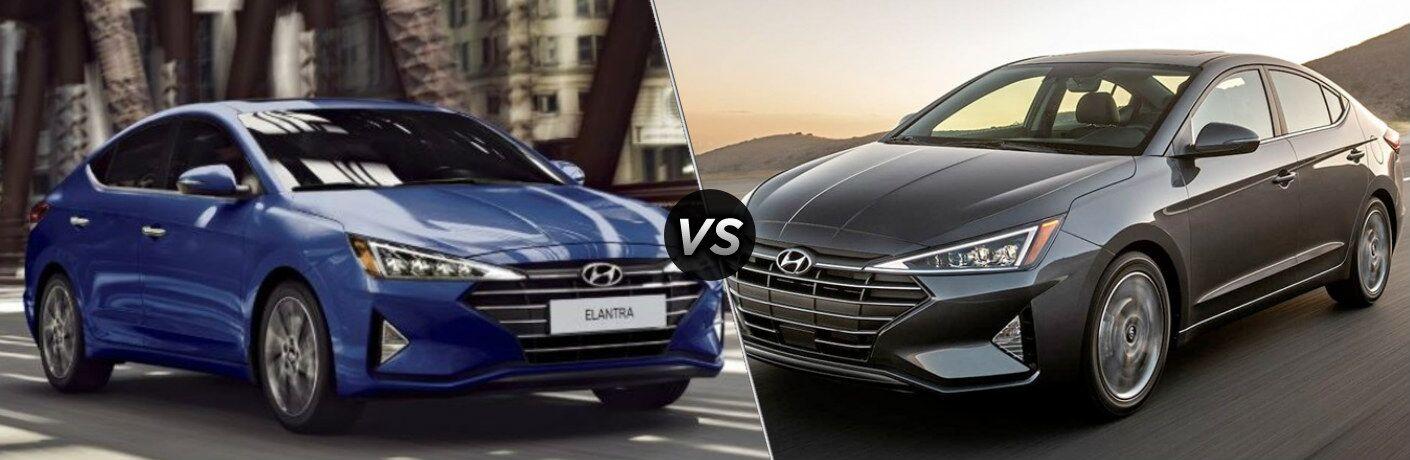Blue 2020 Hyundai Elantra and gray 2019 Hyundai Elantra side by side