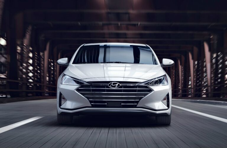 Front view of a white 2020 Hyundai Elantra