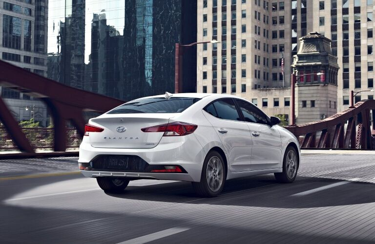 2020 Hyundai Elantra driving across bridge