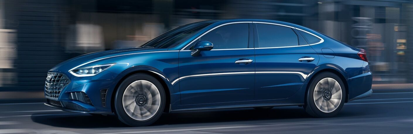 Side view of a blue 2020 Hyundai Sonata