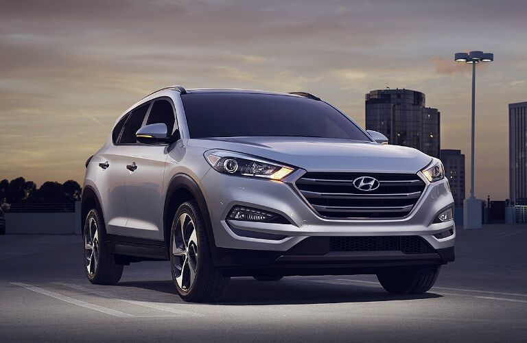 2017 Hyundai Tucson parked outside at night