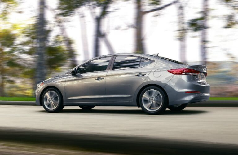 silver 2017 Hyundai Elantra driving on open road