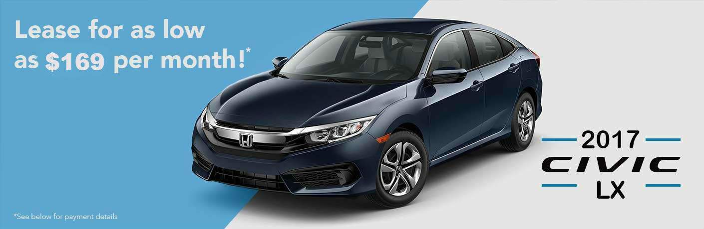 2017 Honda Civic $169 lease offer, see page for details