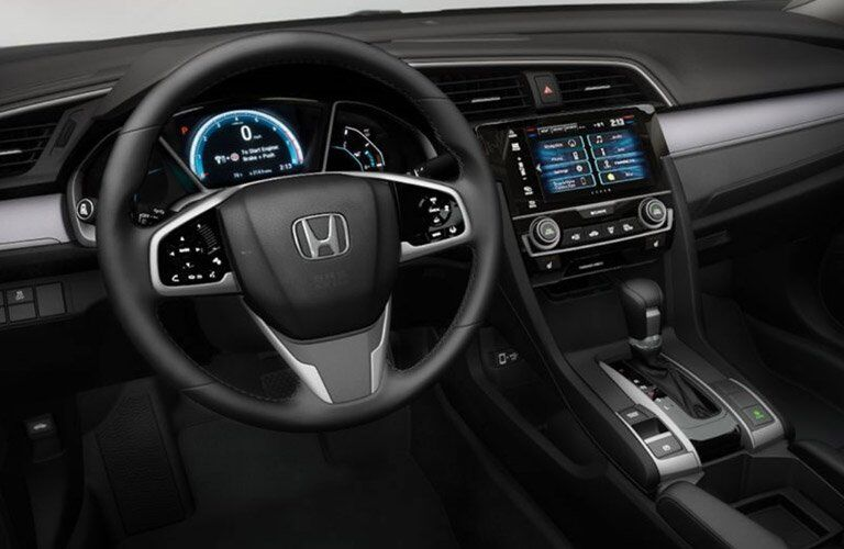 steering wheel and dashboard of the 2017 Honda Civic Touring sedan