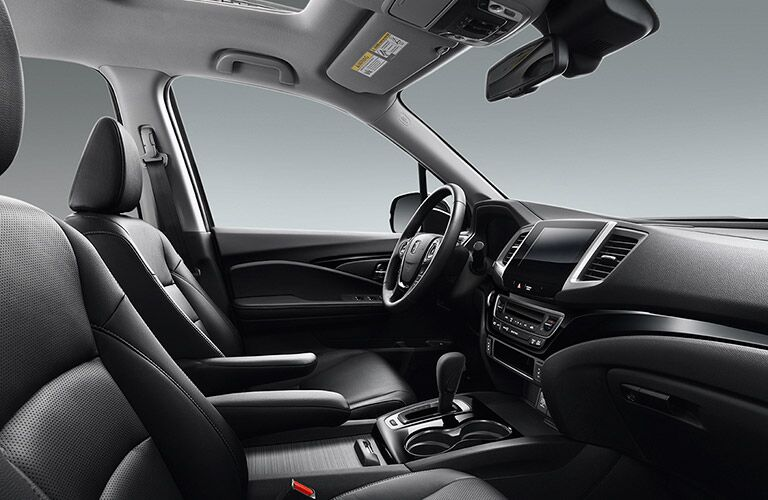 front seats of the 2017 Honda Ridgeline in black