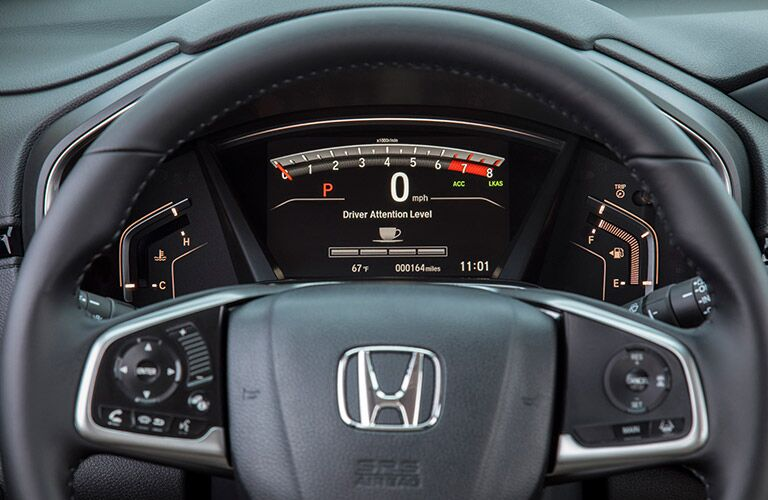 steering-wheel close-up of the 2017 Honda CR-V LX