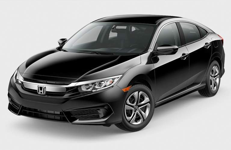 front view of a black 2018 Honda Civic LX Sedan on a gray background