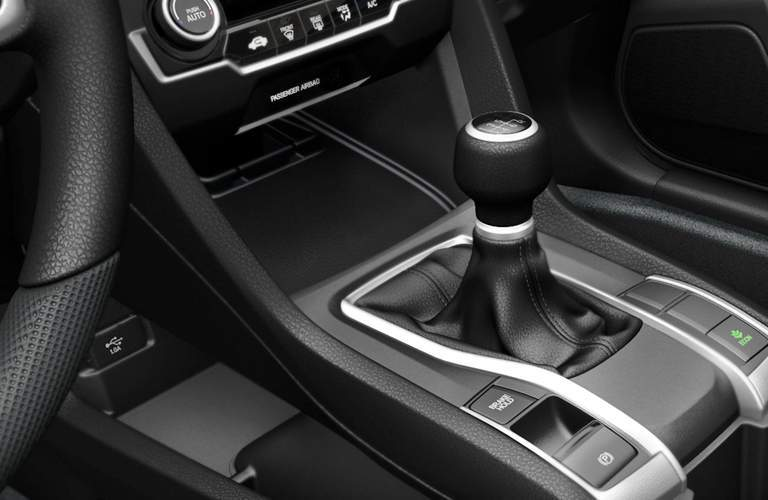 2018 Honda Civic LX Sedan gear shifter and central console