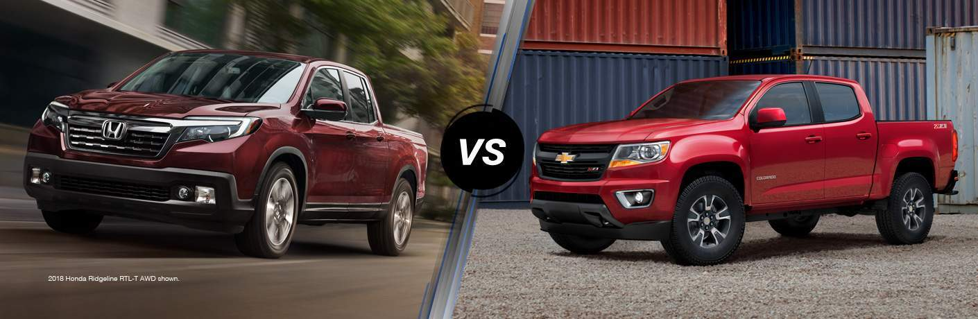 side by side images of the 2018 Honda Ridgeline and 2018 Chevy Colorado in different shades of red