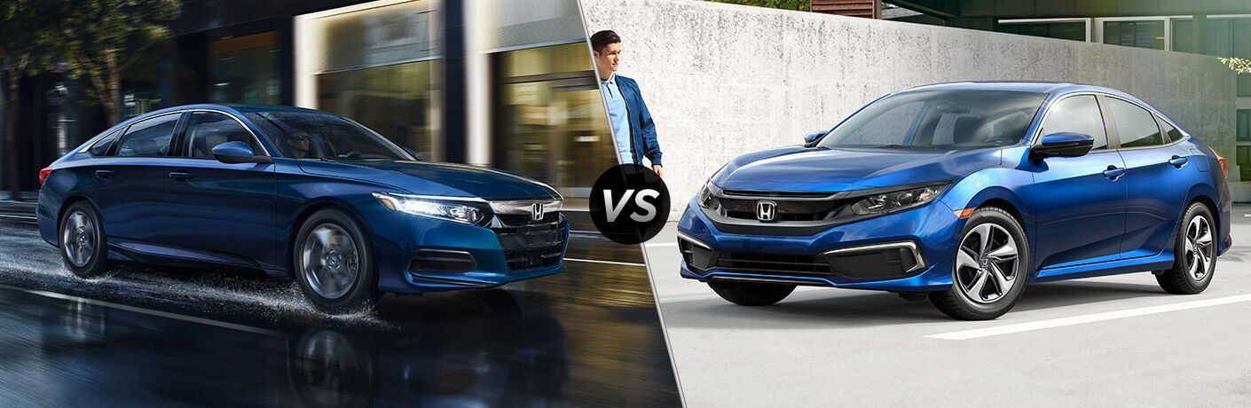 2019 Honda Accord LX exterior front fascia and passenger side vs 2019 Honda Civic LX exterior front fascia and drivers side