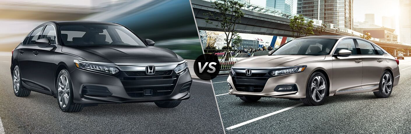 2019 Honda Accord exterior back fascia and passenger side vs 2019 Honda Accord EX exterior front fascia and driver side next to city bridge