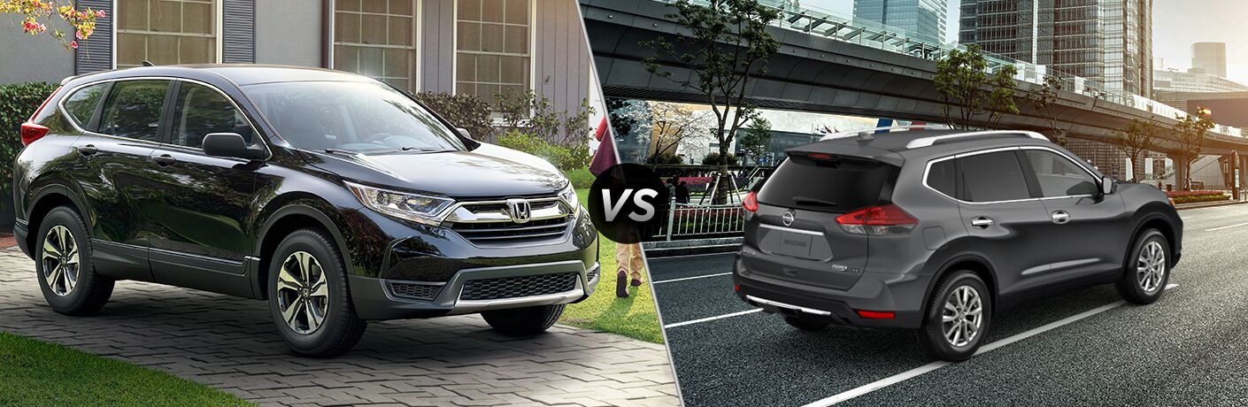 2019 Honda CR-V exterior front fascia and passenger side outdoors vs 2019 Nissan Rogue exterior back fascia and passenger side in city under bridge