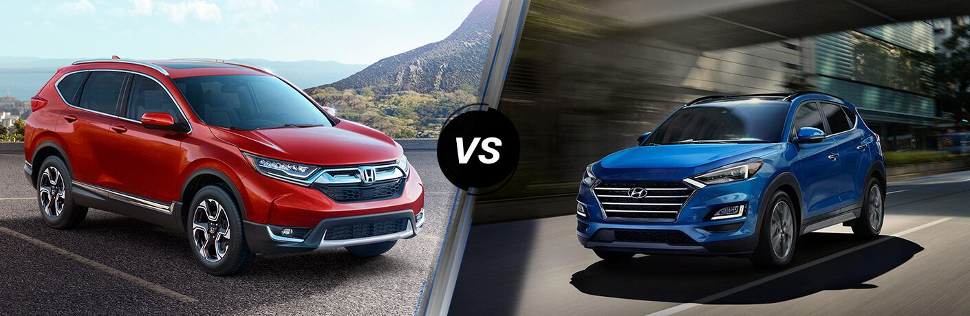 2019 Honda CR-V exterior front fascia and passenger side in empty lot with hill vs 2019 Hyundai Tucson front fascia and driver side on blurred road