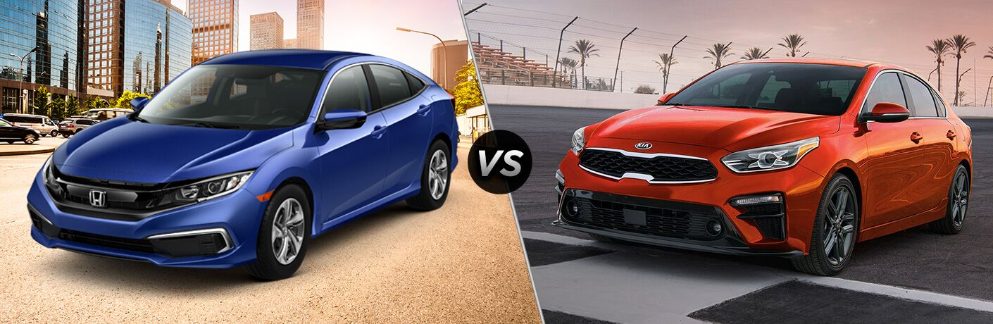 2019 Honda Civic LX exterior front fascia and drivers side in front of city vs 2019 Kia Forte exterior front fascia and drivers side on racetrack