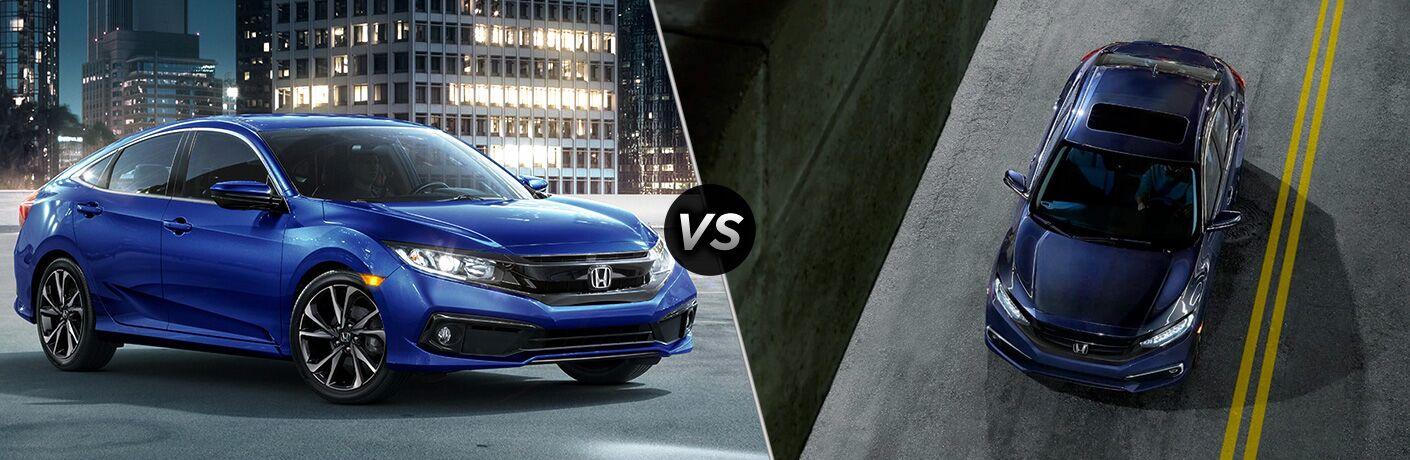 2019 Honda Civic Sedan Sport exterior front fascia and passenger side vs 2019 Honda Civic Touring exterior top view on road