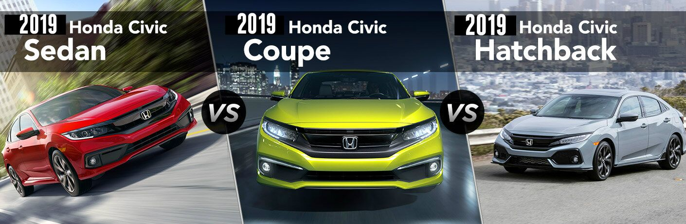 2019 Honda Civic Sedan vs Coupe vs Hatchback comparison image