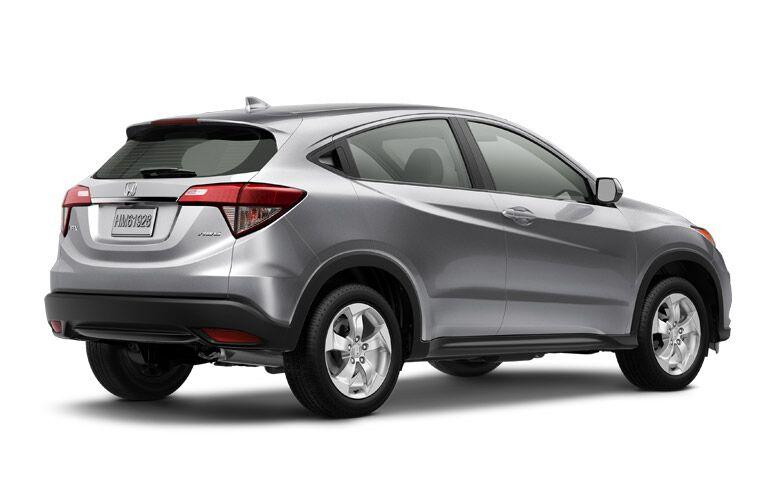 2019 Honda HR-V LX exterior back fascia and passenger side on white background
