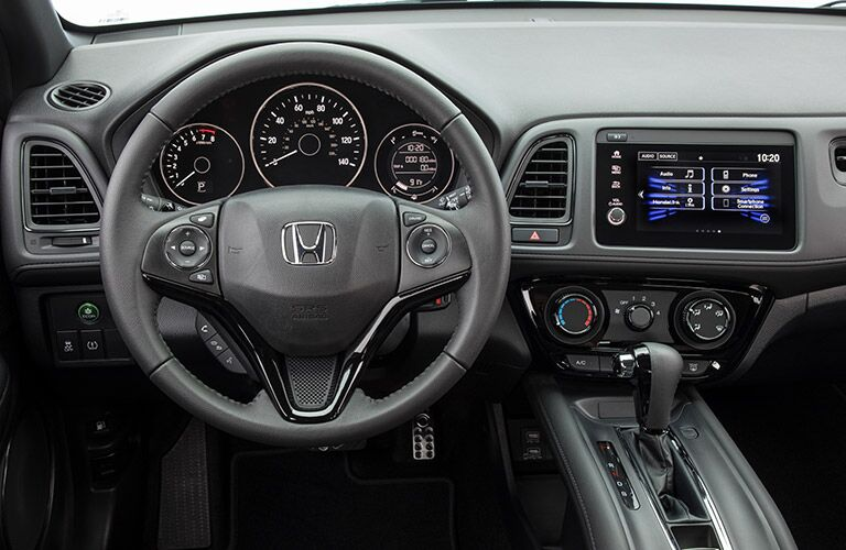 2019 Honda HR-V interior front cabin steering wheel and dashboard
