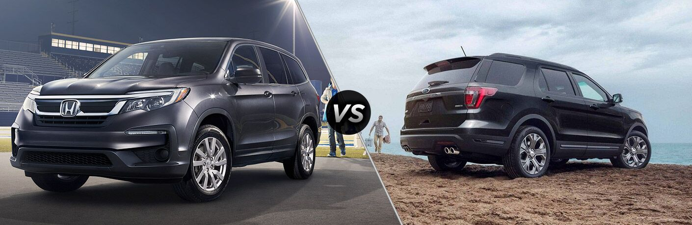 2019 Honda Pilot exterior front fascia and driver side parked in empty stadium vs 2019 Ford Explorer exterior back fascia and passenger side on beach