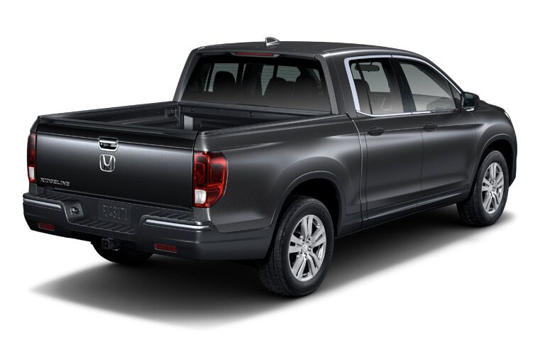 2019 Honda Ridgeline exterior back fasica and passenger side with blank background