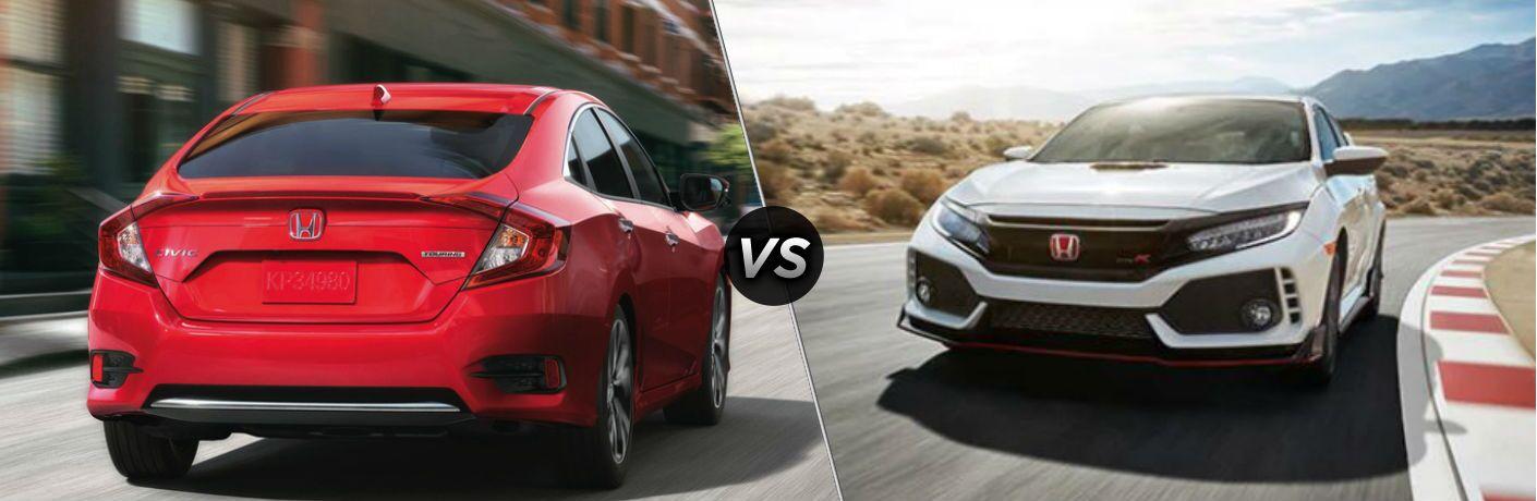 2019 Honda Civic exterior back fascia and passenger side vs 2019 Honda Civic Type R exterior front fascia and driver side