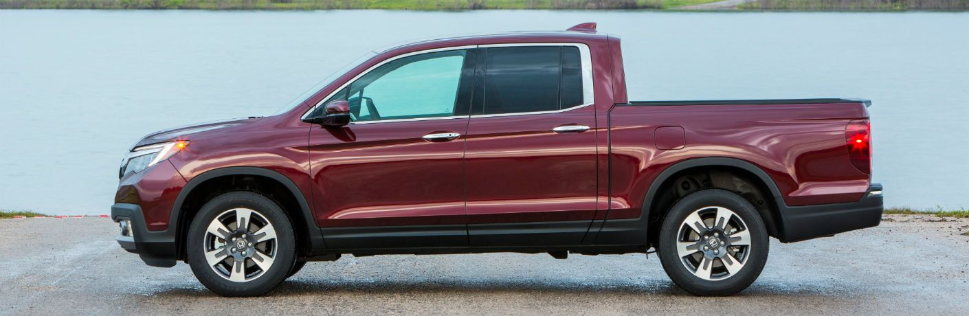 side view of a maroon 2019 Honda Ridgeline